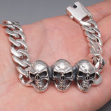 3 HEADS SKULL CURB CHAIN LINKS 925 STERLING SOLID SILVER MENS BRACELET
