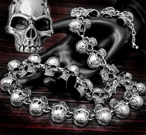 HUGE HEAVY FLAME SKULL 925 STERLING SILVER MENS ROCKER BIKER NECKLACE