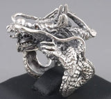 19g HUGE HEAVY JAPANESE DRAGON 925 STERLING SOLID SILVER MENS RING