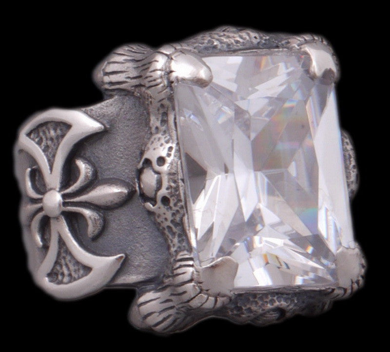 28g warrior axe white topaz ring 925 sterling silver