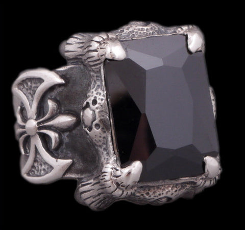 28g warrior axe black onyx ring 925 sterling silver