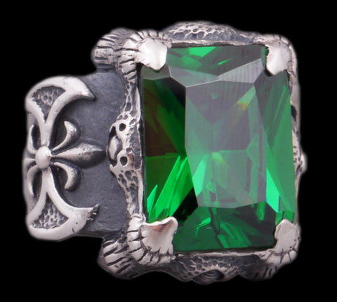 28g warrior axe green topaz ring 925 sterling silver