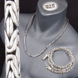 6mm ROUND BALI BYZANTINE 925 STERLING SOLID SILVER MENS NECKLACE KING CHAIN CLASSIC CLASP