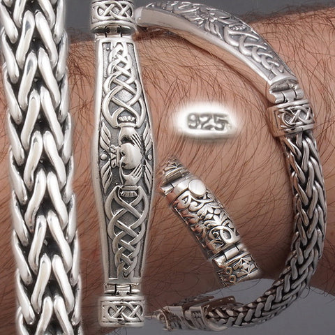 CELTIC HEART WOVEN BRAIDED TRIBAL 925 STERLING SOLID SILVER MENS BRACELET