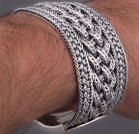 EXTRA WIDE WOVEN BRAIDED TRIBAL 925 STERLING SOLID SILVER MENS BRACELET