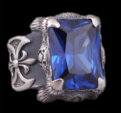 28g warrior axe blue topaz ring 925 sterling silver