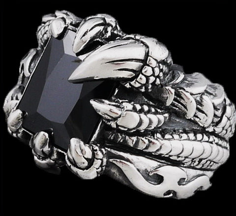 16g black onyx dragon claw ring 925 sterling silver