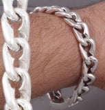 heavy tribal curb links chain mens bracelet 925 sterling solid silver