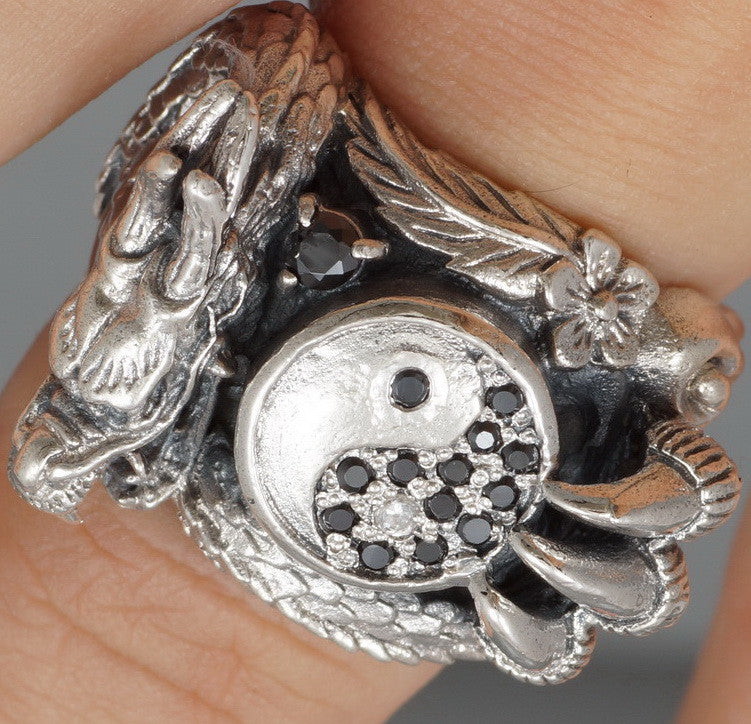 24g HUGE HEAVY YING YANG DRAGON 925 STERLING SOLID SILVER MENS RING