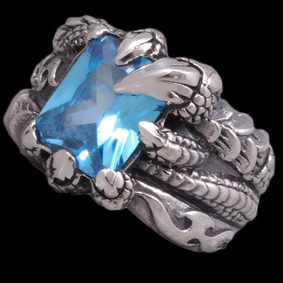 16g blue topaz dragon claw ring 925 sterling silver