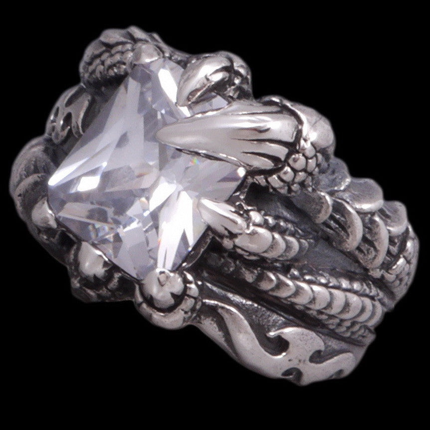 16g white topaz dragon claw ring 925 sterling silver