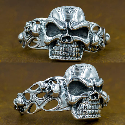 100g amazing heavy huge skull biker mens cuff bangle bracelet 925 sterling silver