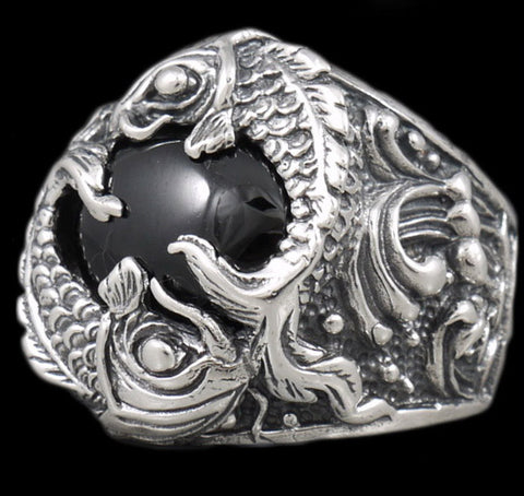 33g koi fish black onyx ring 925 sterling silver