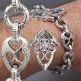 DRAGON KING ARMOR KNIGHT CHAIN 925 STERLING SOLID SILVER MENS BRACELET