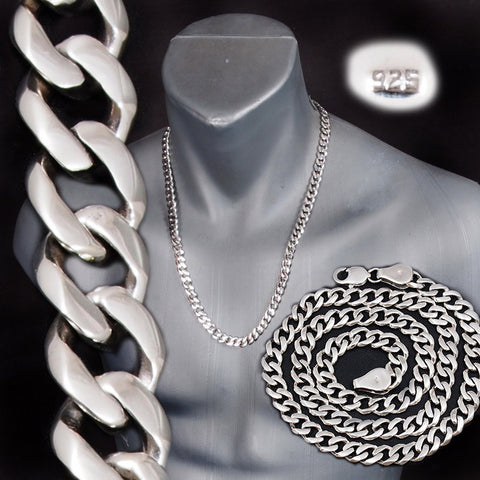 ELEGANT CLASSIC CURB CUBAN CHAIN LINKS 925 STERLING SOLID SILVER MENS NECKLACE