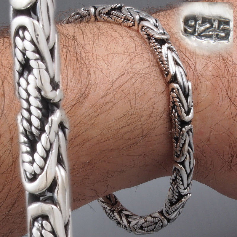 2kind of design 5mm bali byzantine handmade woven mens bracelet