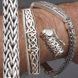 CELTIC STYLE WOVEN BRAIDED TRIBAL 925 STERLING SOLID SILVER MENS BRACELET