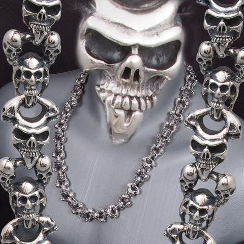 HUGE HEAVY MULTI SKULL 925 STERLING SOLID SILVER MENS ROCKER BIKER NECKLACE CHAIN