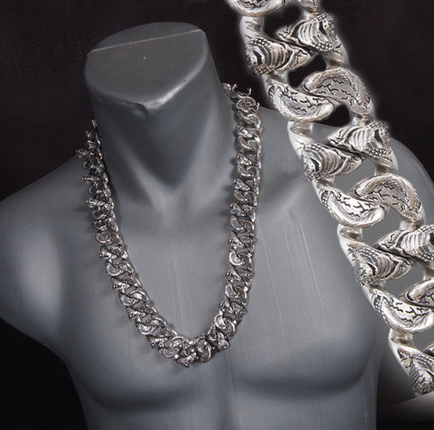 HUGE HEAVY COBRA SNAKE CURB CHAIN 925 STERLING SILVER MENS NECKLACE CHAIN
