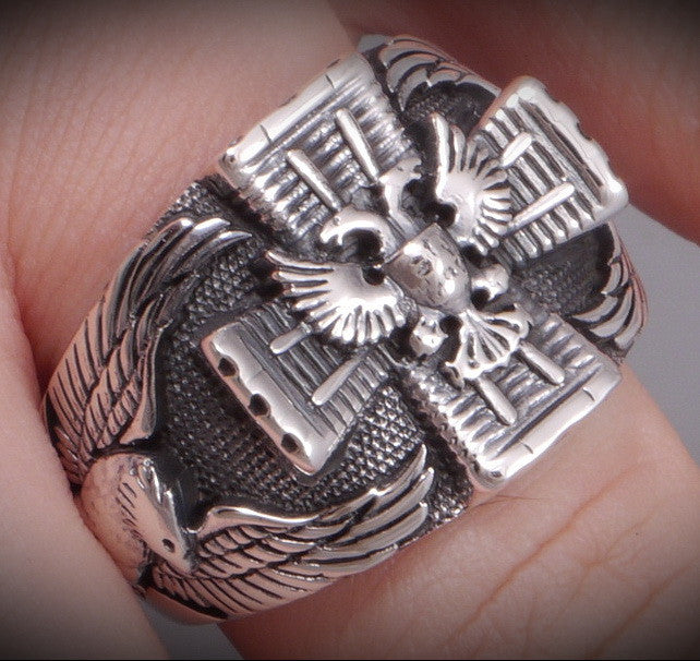 13g german imperial eagle ring 925 sterling silver