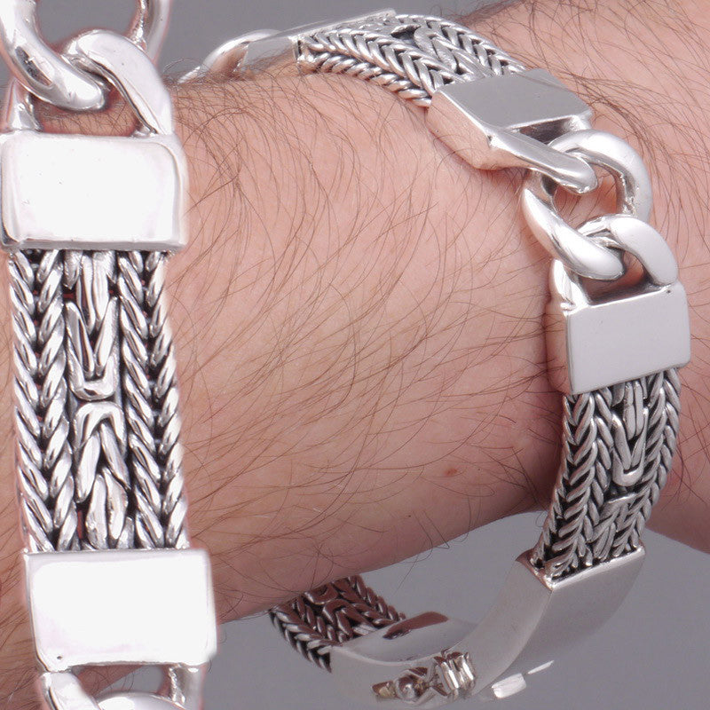 woven wide multi bali snake braided tribal 925 sterling solid silver mens bracelet