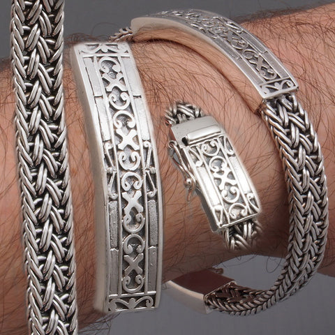 ARTISAN WOVEN BRAIDED TRIBAL MENS BRACELET 925 STERLING SOLID SILVER