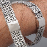 MULTI BALI BYZANTINE WOVEN BRAIDED TRIBAL 925 STERLING SOLID SILVER MENS BRACELET