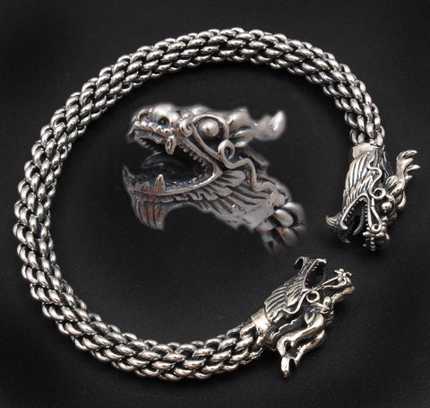 DOUBLE DRAGON BRAIDED 925 STERLING SILVER MENS WOMENS BRACELET BANGLE CUFF