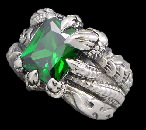 16g green topaz claw ring 925 sterling silver