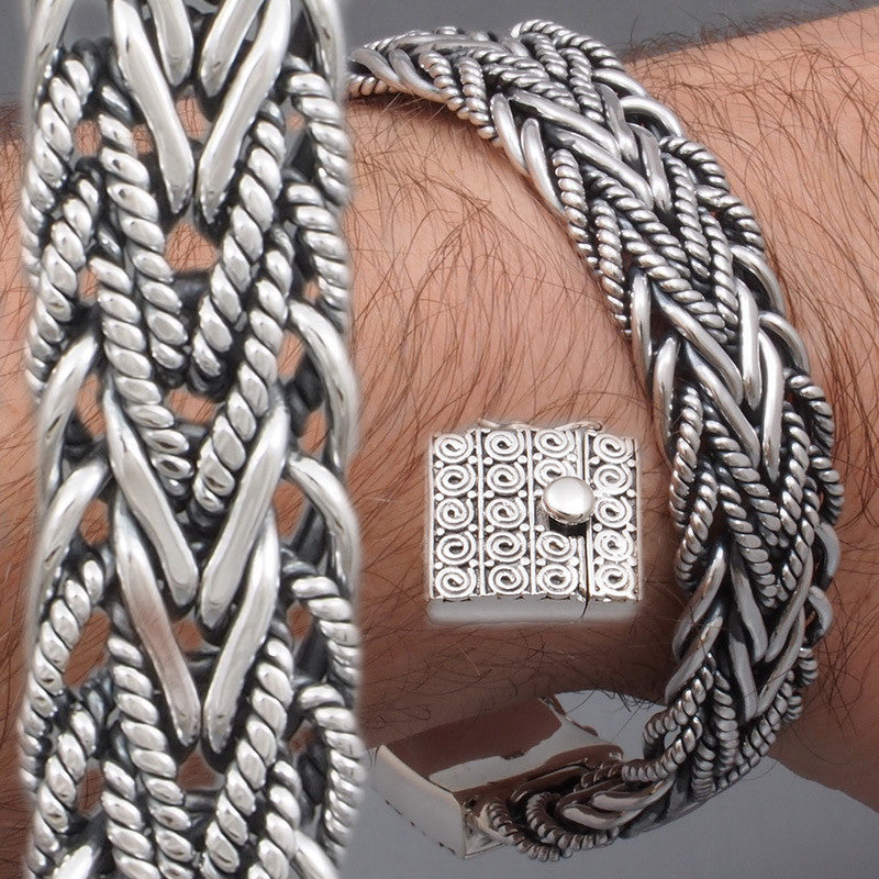 231061630dbb WIDE WOVEN BRAIDED TRIBAL ART 925 STERLING SOLID SILVER MENS BRACELET – Sweet  Biker Store 925