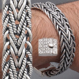 WIDE WOVEN BRAIDED TRIBAL ART 925 STERLING SOLID SILVER MENS BRACELET