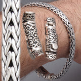 designed clasp woven braided tribal 925 sterling solid silver mens bracelet