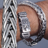 braided heavy woven star 925 sterling silver chunky mens bracelet
