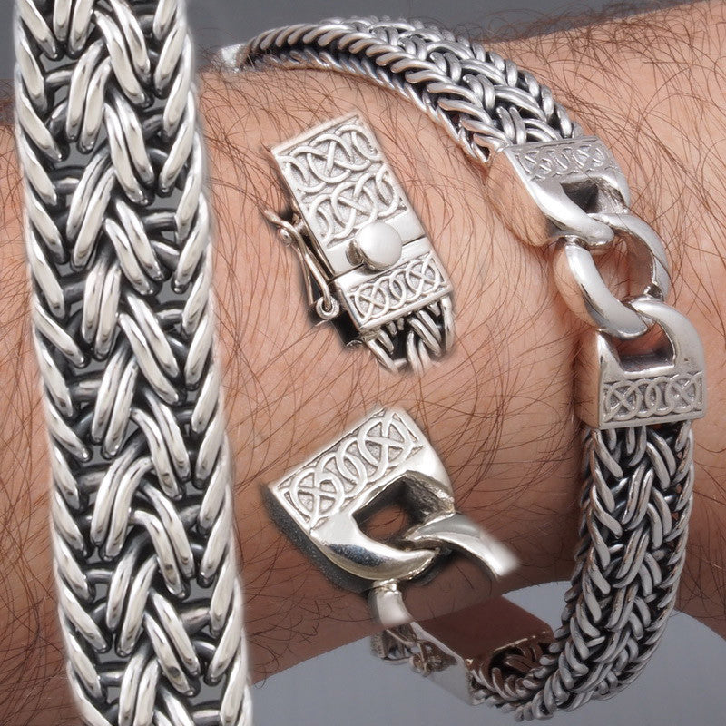 curb links woven snake 2kind design 925 sterling silver mens bracelet