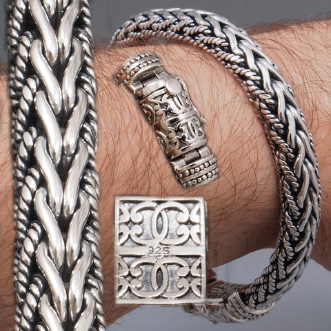 ARTISAN TRIBAL BRAIDED CHAIN 925 STERLING SOLID SILVER MENS BRACELET