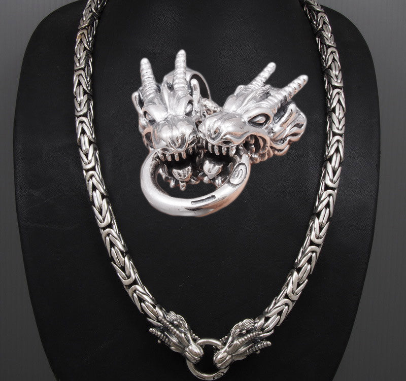 10b19297ea1ca 10mm ROUND HEAVY DRAGON BALI BYZANTINE 925 STERLING SILVER MENS NECKLACE  KING CHAIN