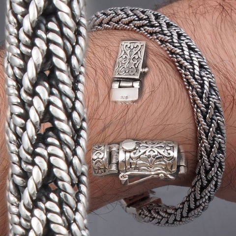 ARTISAN BRAIDED TRIBAL SNAKE MENS BRACELET 925 STERLING SOLID SILVER