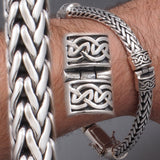 ARTISAN BRAIDED TRIBAL WOVEN MENS BRACELET 925 STERLING SOLID SILVER