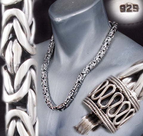 9mm ROUND BALI BYZANTINE 925 STERLING SOLID SILVER MENS NECKLACE KING CHAIN CLASSIC CLASP