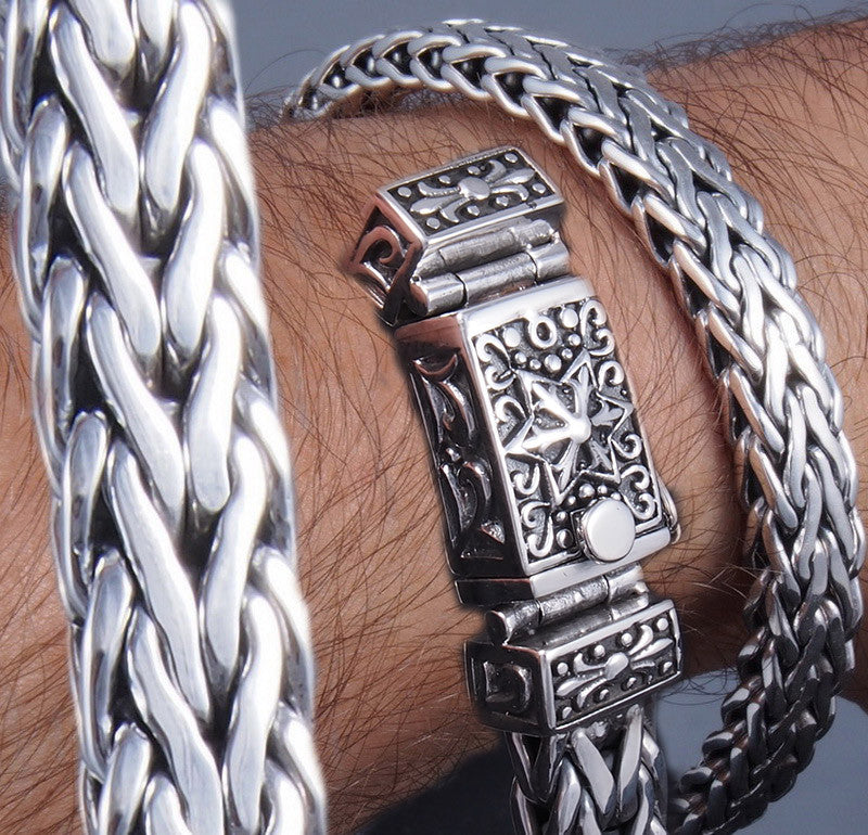 braided heavy woven star 925 sterling silver chunky large mens bracelet