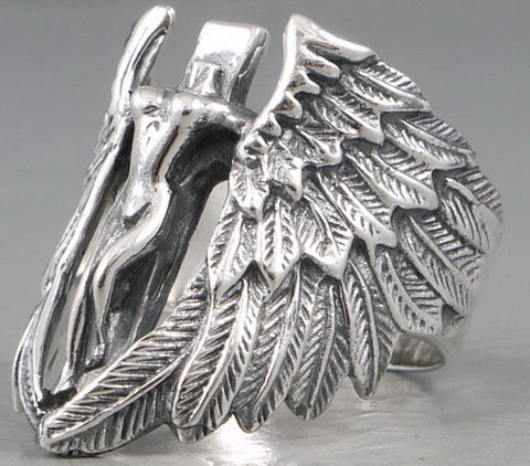15.5g winged victory angel ring 925 sterling silver