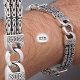 amazing 3 lines bali byzantine curb links woven 925 sterling silver mens bracelet