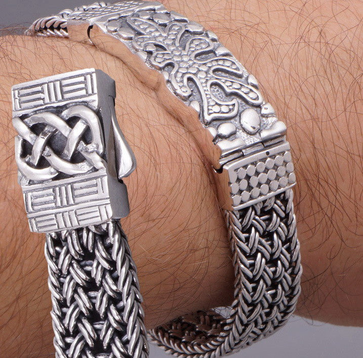 WIDE WOVEN BRAIDED TRIBAL ART 925 STERLING SOLID SILVER MENS BRACELET DF78