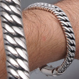 heavy double curb link chain 925 sterling solid silver mens bracelet
