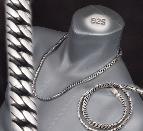 ROUNDED DOUBLE CURB LINKS CHAIN MENS NECKLACE 925 STERLING SOLID SILVER