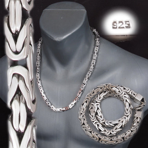9mm SQUARE SHAPE HEAVY BALI BYZANTINE 925 STERLING SILVER MENS NECKLACE KING CHAIN