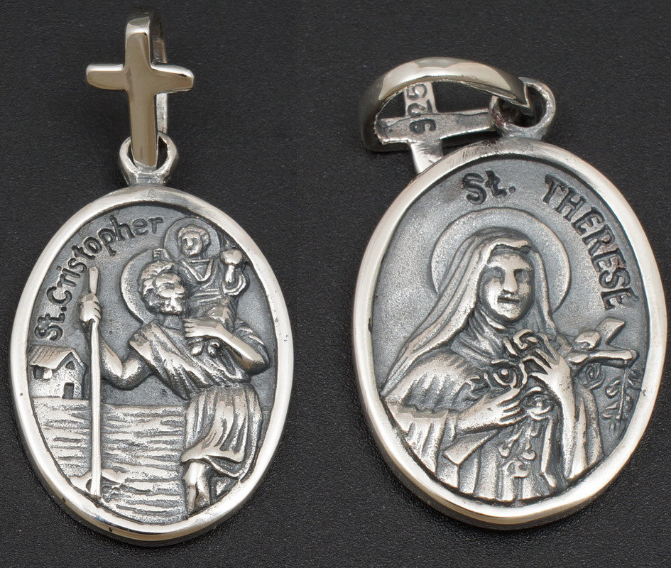 6g saint therese & christopher crucifix cross pendant