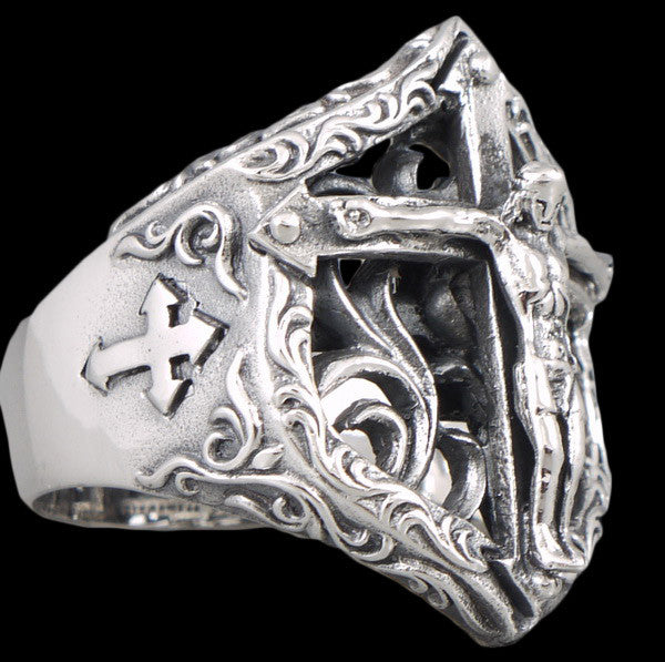 16g floral crucifix cross ring 925 sterling silver