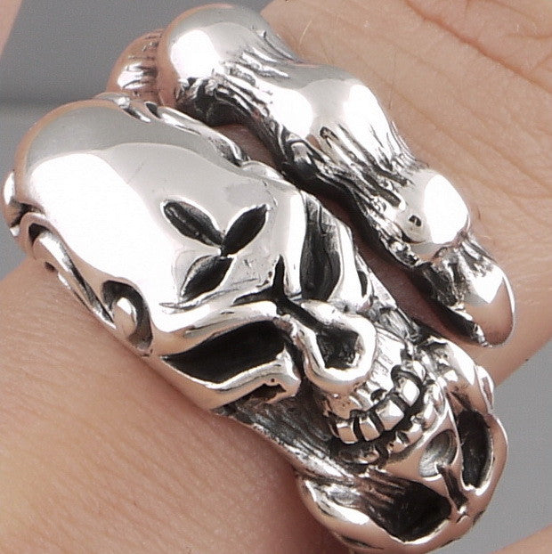 tribal snake skull 925 sterling solid silver ring biker rocker