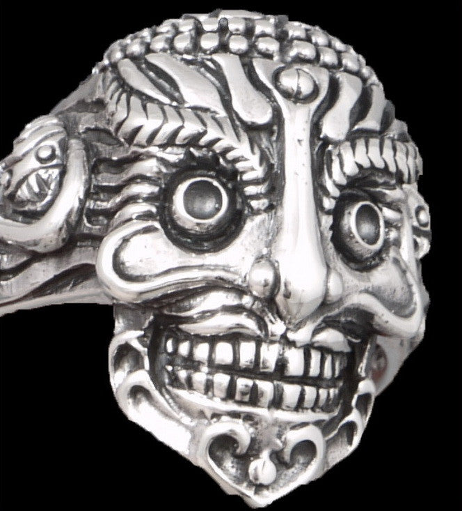 mexican sugar skull skeleton 925 sterling solid silver mens ring biker rocker